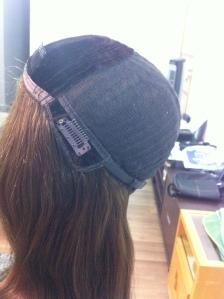 Construção do cap - com um veludo especial que não deixa a peruca escorregar e sair da cabeça